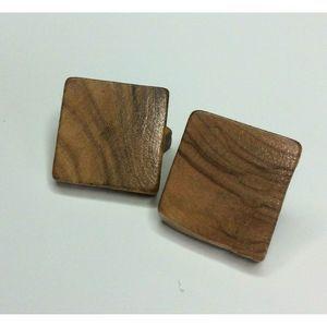 Wood Square Cufflinks Rustic Natural